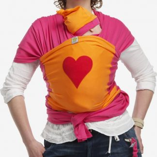 ByKay - Draagdoek - Stretchy Wrap Deluxe Fuchsia/ Oranje/ Hart Rood - Large