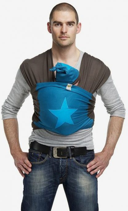 ByKay - Draagdoek - Stretchy Wrap Deluxe - Bruin/ Petrol/ Ster Turquoise - Large